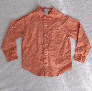 Janie & Jack Orange Linen Button Up